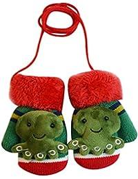 K-youth® Guantes de Invierno calientes con una cuerda suaves manoplas de felpa guantes de punto para unisex bebé niña niño