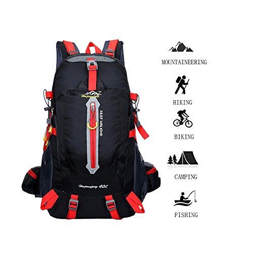 40L Trekking Rucksack Rucksack für Camping Wandern Beigsteigen Radfahren Reisen Klettern Tag Touren Einfach Design Wasserdicht Viele Fächer (Schwarz)