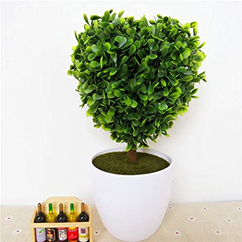 Beata.T Artificial Flowers Suit Simulation Flower Tree Small Bonsai Fake Flower Big Leaf Millet Oval Heart-Shaped Grass Ball Potted Home Ornaments Ornaments Flower, D