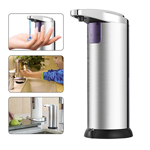 Automatic Soap Dispenser,Pomisty Soap Dispenser 280ML Stainless Steel Countertop Touchless Sensor Soap Hand Free Motion Sensor with Waterproof Base for Kitchen and Bathroom