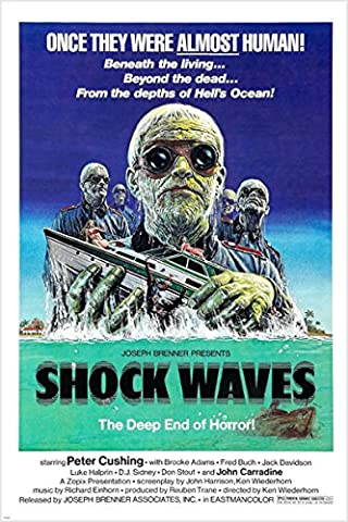 1977Deep Sea Thriller Shock Waves Film Poster d'horreur Zombies 24x 36(Reproduction, non original)