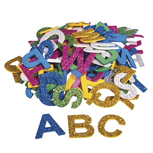 Rayher 30227000 Moosgummi Alphabet Glitter, 3 cm, 130 Stück, selbstklebend, Farben gemischt, Glitter Schaumstoff Sticker, Moosgummi-Aufkleber ABC, zum Dekorieren