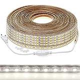 50m LED Streifen 5050 230V tageslichtweiß kaltweiß 6000K IP44 dimmbar, Netzstecker, je Meter kürzbar