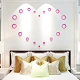 Warmcasa Wandaufkleber Wandtattoo Spiegel Aufkleber 3D Fenster Abziehbilder Wand Dekoration Zimmerdeko Blumen Zimmerdekoration (Pink)