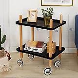 D&L Doppelstock- mit Rädern Runde Beistelltisch, Wasserdicht Wohnzimmer Sofatisch Couchtisch Schlafzimmer Nachttisch Telefontisch-Schwarz L50xW35xH65cm
