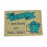 koko doormats Felpudo para Entrada de Casa Pasa y Deja Fuera los Malos Rollos Original y Divertido, 40x60 cm - Azul