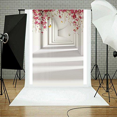 kingko® Fotografie Hintergrund Flüsse und Berge Blumen mit Fahnen Vinyl Holz Wand Boden Fotografie Hintergrund 3x5FT 90cmx150cm (F)