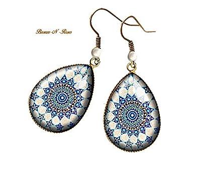 Boucles d'oreilles gouttes Mosaïques Orientales cabochon bronze pendant bleu verre étoiles