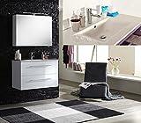 SAM® Badmöbel-Set 2-tlg, Basel, Hochglanz weiß, Softclose Badezimmermöbel, Waschplatz 90 cm Keramikbecken weiß, Spiegelschrank Deluxe