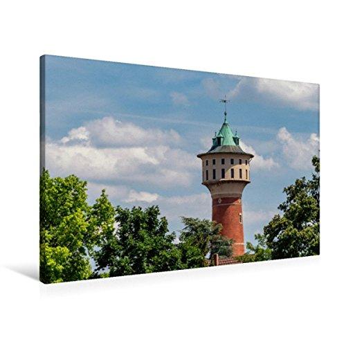 Premium Textil-Leinwand 90 x 60 cm Quer-Format Wasserturm Mannheim-Wallstadt   Wandbild, HD-Bild auf Keilrahmen, Fertigbild auf hochwertigem Vlies, Leinwanddruck von Thomas Seethaler