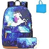 Galaxia Mochila Unicornio Mochila Infantil niña con Puerto de Carga USB Mochila Estudiantes Bolso para Chicas para La Escuela,Viajes,Intemperie Azul (Azul)