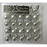 Pack of 25 SILVER Shiny and Matt Christmas Tree Baubles (PM98)