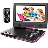ieGeek Reproductor DVD Portátil Coche Niños con Pantalla HD 9.5' TFT LCD, Multi Region Gratis, Batería Recargable 5H, Jack de Auriculares Dual, Puerto AV / SD / USB (Morado)