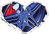 Raffreddare cerchi sintonizzatore a forma di cuore in formato adesivo aspetto, parete o una porta 3D: 62x43.5cm, autoadesivi della parete, decalcomanie della parete, decorazione della parete