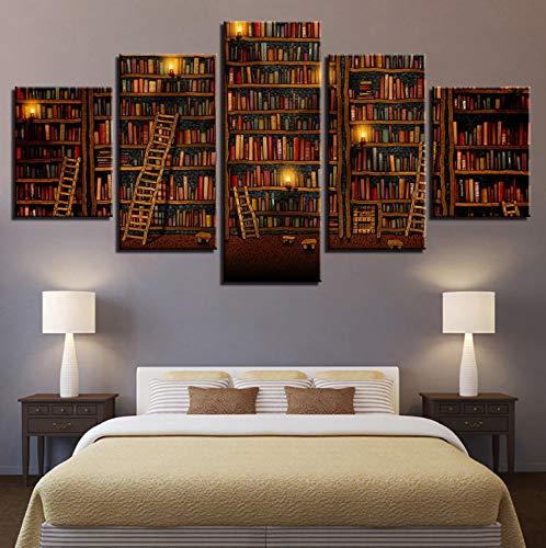 Sanzx 5-teiliges Leinwandbild, Fantasie-Bibliothek, Bücher, Landschafts-Arbeit, Malerei, Heimdekoration, Wd-1544 rahmenlos, 30 x 40 x 2, 30 x 60 x 2, 30 x 80 cm