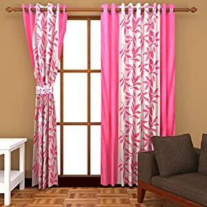 Freehomestyle Floral Door Curtains- Pink (Set of 3)