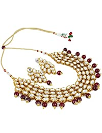 Andaaz Stylish Maroon Onyx Stone Kundan Necklace Set With Earrings For Women And Girls