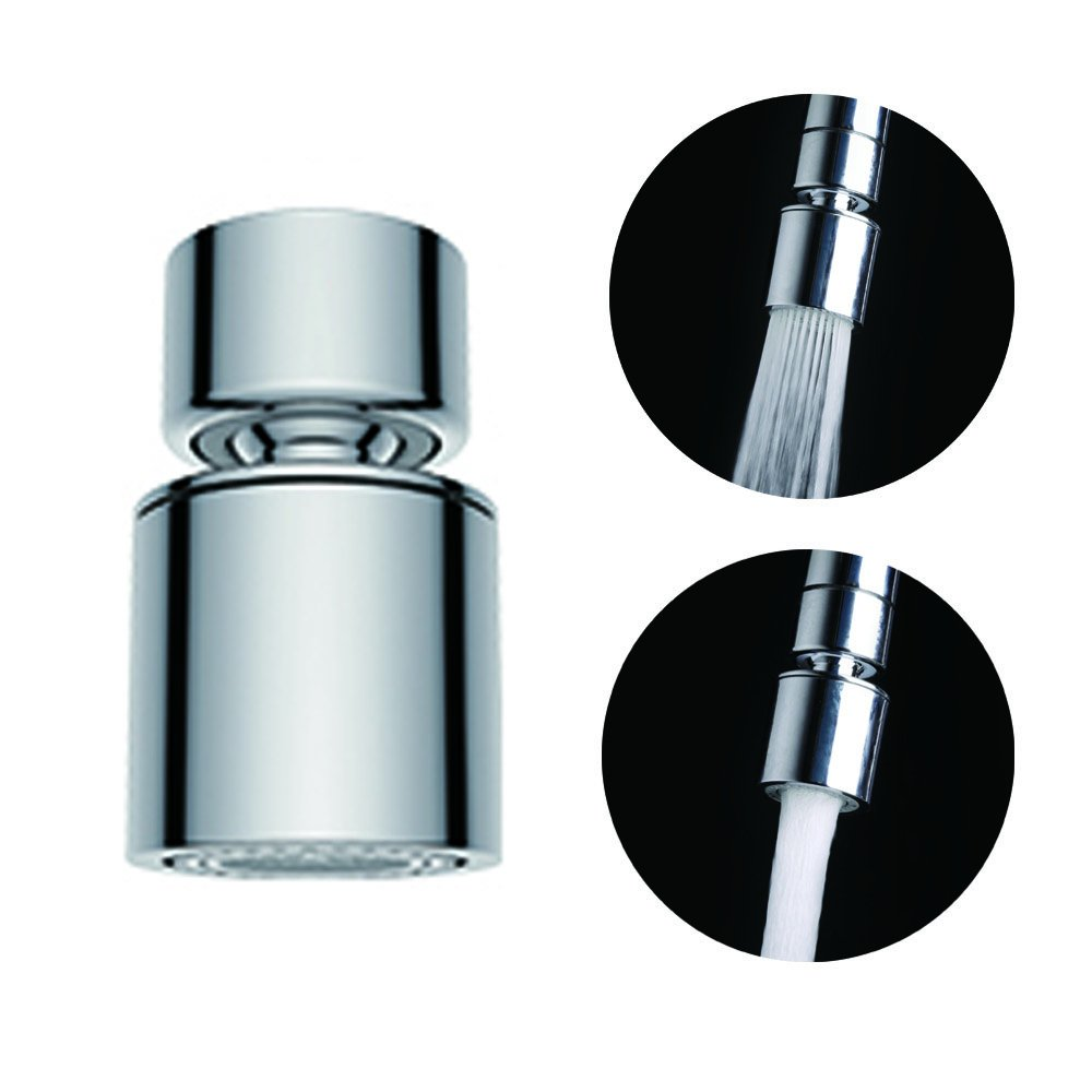 Waternymph Hibbent Dual-function 2-Flow Kitchen Sink Aerator, 360 ...