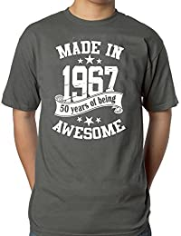 Mens 50th Birthday Grey T-shirt - Made In 1967 - 50 Years Of Being Awesome Gift T-shirt