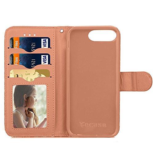 iPhone Case Cover Mischfarben-PU-Leder-Kasten-Mappen-Kasten mit Karten-Bargeld-Slot Regenbogen-Muster Fall-Standplatz-Abdeckung für Apple IPhone 7 plus ( Color : Gray , Size : IPhone 7 Plus ) Gray
