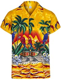 5aaec8cbc9a Mens Hawaiian Shirt Short Sleeve Parrot STAG Beach Holiday Bird Fancy Dress…