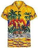 Redstar Fancy Dress - Camicia Hawaiana da Uomo - con pappagalli - Maniche Corte - Tutte Le Taglie - Giallo - Large