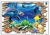 3D Wandsticker Fische Delfin Aquarium Wandbilder Wandtattoos selbstklebend