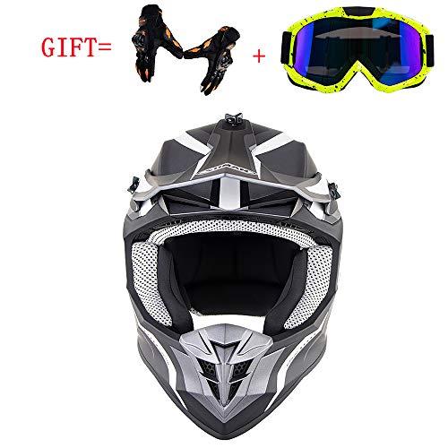 MMGIRLS Erwachsener Motocross-Helm, Motocross-Downhill-SUV ECE-zertifizierter doppelter Sport-Ausdauer-Rennhelm Schutzbrillenhandschuhe gratis,XXL