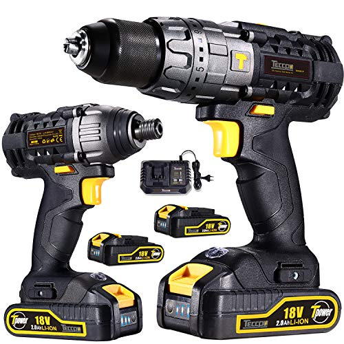 Akku-Bohrschrauber 18V, TECCPO Elektroschrauber 60Nm, 180Nm Schlagschrauber, 2 Akku 2.0Ah, 30min Schnellladegerät, LED-Lampe und Gürtelschlaufe, Bohrmaschinensets - TDCK01P