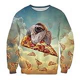 Leapparel Weihnachten Faultier Pullover Mädchen und Frauen Ugly 3D Design Langarm T-shirt L