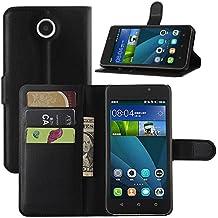 Huawei Y635Funda, hualubro [función atril] [todo alrededor de protección] Premium funda de piel sintética teléfono Funda protectora con ranura para tarjeta para Huawei Ascend Y635Smartphone, negro