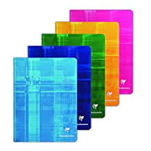 Clairefontaine 637551AMZC Bloc Notes a Quadretti Grandi senza Spirale, 17 x 22 cm, Confezione da 5, Colori Assortiti
