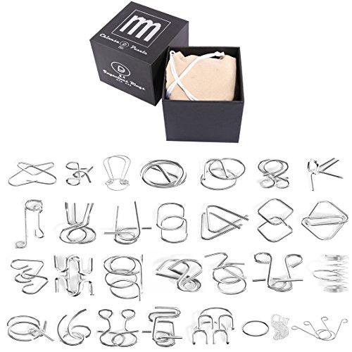 Winni43Julian Knobelspiel Klassiker Set, 28 Stück Metall IQ-Spiel Set, Geduldspiele, Geschicklichkeitsspiele für Erwachsene und Kinder, Puzzlespiel Set, Knobelei