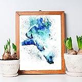 Homeofying Cute Aquarellpapier-Tauchen mit Eisbären Poster Deko-Bild 30cm x 40cm