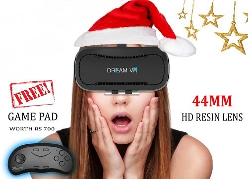DREAM VR – Wireless Virtual Reality Headset – 44mm HD lens – With Bluetooth Controller Gamepad