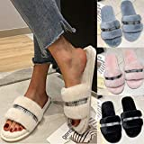 Lailailaily Womens Warm Plaid Solids Plush Soft Slippers IndoorsFloor Bed Room Shoes
