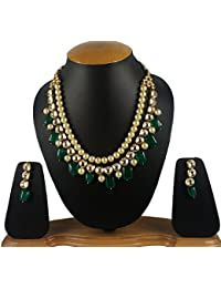 Andaaz Designer High Quality Pearl And Kundan Necklace With Earrings For Women And Girls