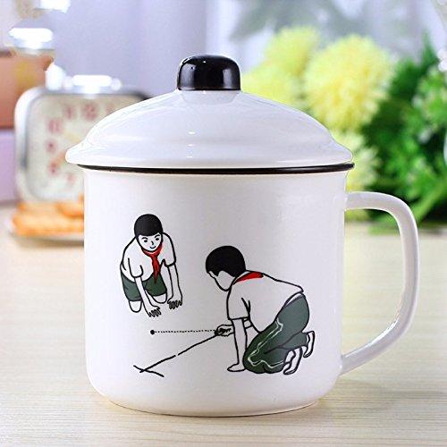 TIANLIANG04 Becher Kaffeetassen Keramiktasse Imitation Emaille Tasse Tasse Mit Deckel Farbe Cup, 300...