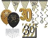 KPW 30 Teile Set zum 30. Geburtstag oder Jubiläum - Party Deko in Schwarz & Gold