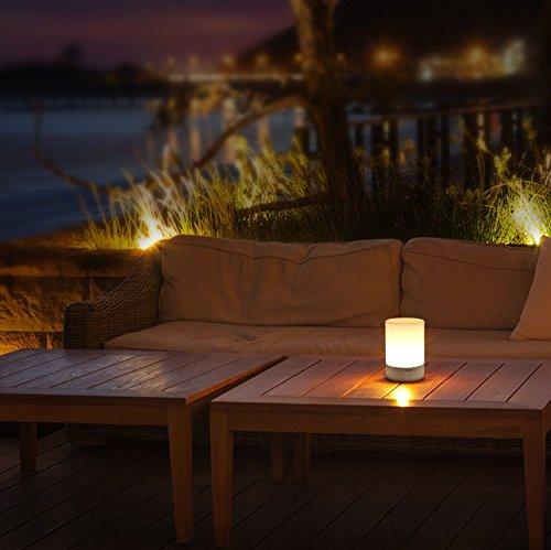AUKEY Lámpara de Mesa Recargable con Luz Blanca Cálida Regulable & Color-Cambiante RGB, Lámpara Táctil con una iluminación de 360 grados para Habitaciones