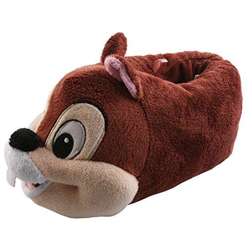 Tierhausschuhe Plüsch Hausschuhe Disney Chip Chap Pantoffel Kids Streifenhörnchen Kinder Puschen Original Schlappen, TH-DABHOERN Dunkelbraun