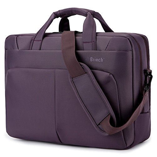 Laptop Tasche BRINCH 17,3 Zoll Nylon Multi-Fach Laptop Schultertasche Messenger Bag geräumig Aktentasche Umhängetasche Businesstasche Arbeitstasche für 17 - 17,3 Zoll Laptop/Notebook/Macbook,Violett