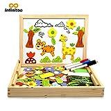 infinitoo Magnetisches Holzpuzzle Doppelseitiges Magnetisches 100 Bunten Stück Tierformen Holzpuzzle | Populäres pädagogisches Lernspielzeug für Kleinkinder ab 3 Jahre