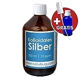 Kolloidales Silber 10ppm Set mit 1er Pack (1 x 500 ml) Glasflasche und ✨⭐ - Silberwasser mit Reinheitsstufe von 99,99% - frische deutsche Produktion