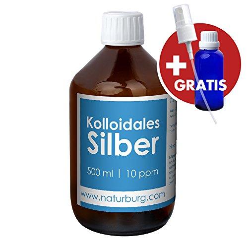 Kolloidales Silber 10ppm Set mit 1er Pack (1 x 500 ml) Glasflasche und gratis leere Spray Flasche...