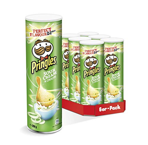 Pringles Sour Cream & Onion Chips | 6er Party-Pack (6 x 200g) (Chips Onion Sour Cream)