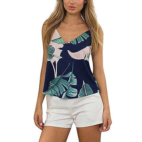 Bekleidung Vest Loveso Sommerkleider Damen Mode Blätter Muster Ärmellos Schulterfrei