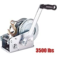 RUNGAO - Manivela Manual de Doble Engranaje (1590 kg) para Remolque ATV RV (Cable DE 90 m)