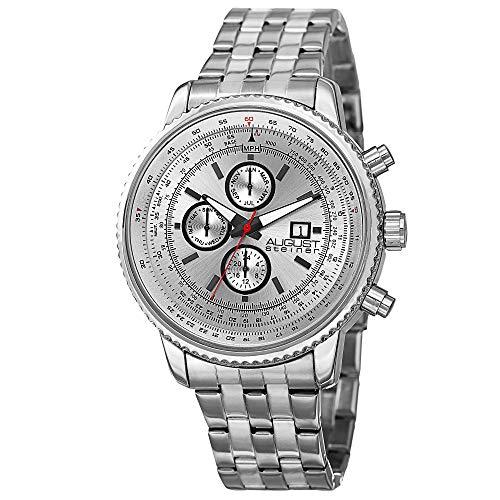 AUGUST STEINER Herren Analog Quarz Uhr mit Edelstahl Armband AS8162WT