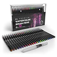 Castle Art Supplies Watercolour Brush Pens Set of 24 - Vibrant Markers with Flexible Nylon Brush Tip for Colouring Books, Calligraphy, Drawing and Writing - Non Toxic - Includes Extra Water Brush Pen